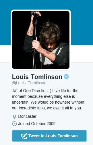 The moment Louis changes his bio from 1/5 to 1/4 (if he does) I will officially be totally crushed. There's always five. There are 5 members of One Direction.