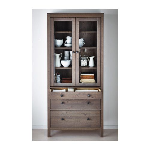 HEMNES Glass-door cabinet with 3 drawers IKEA Solid wood has a natural feel. Large drawers for hidden, dust-free storage.