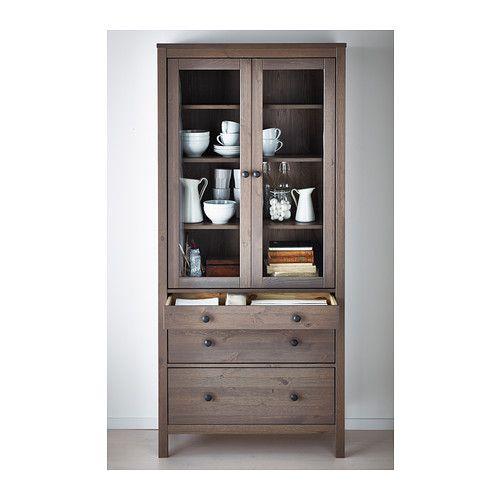 Ikea Island Raised Breakfast Bar ~ HEMNES Glass door cabinet with 3 drawers IKEA Solid wood has a natural