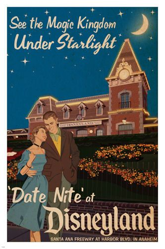 date night AT DISNEYLAND vintage poster 24X36 MAGIC KINGDOM by starlight HOT