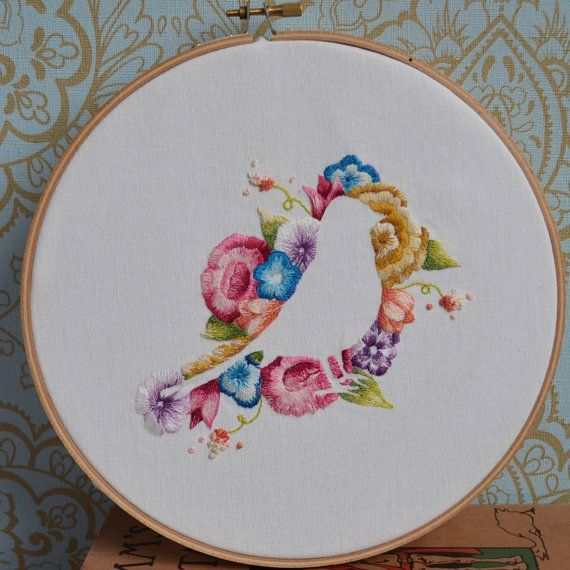 Flower & Bird Iron on Hand Embroidery Pattern