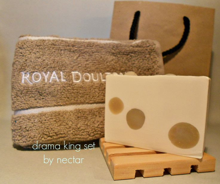 just for men - Drama King soap, high-end washcloth and soap rack - all in an eco-friendly gift bag (www.nectarbodyandbath.com) Made in NZ