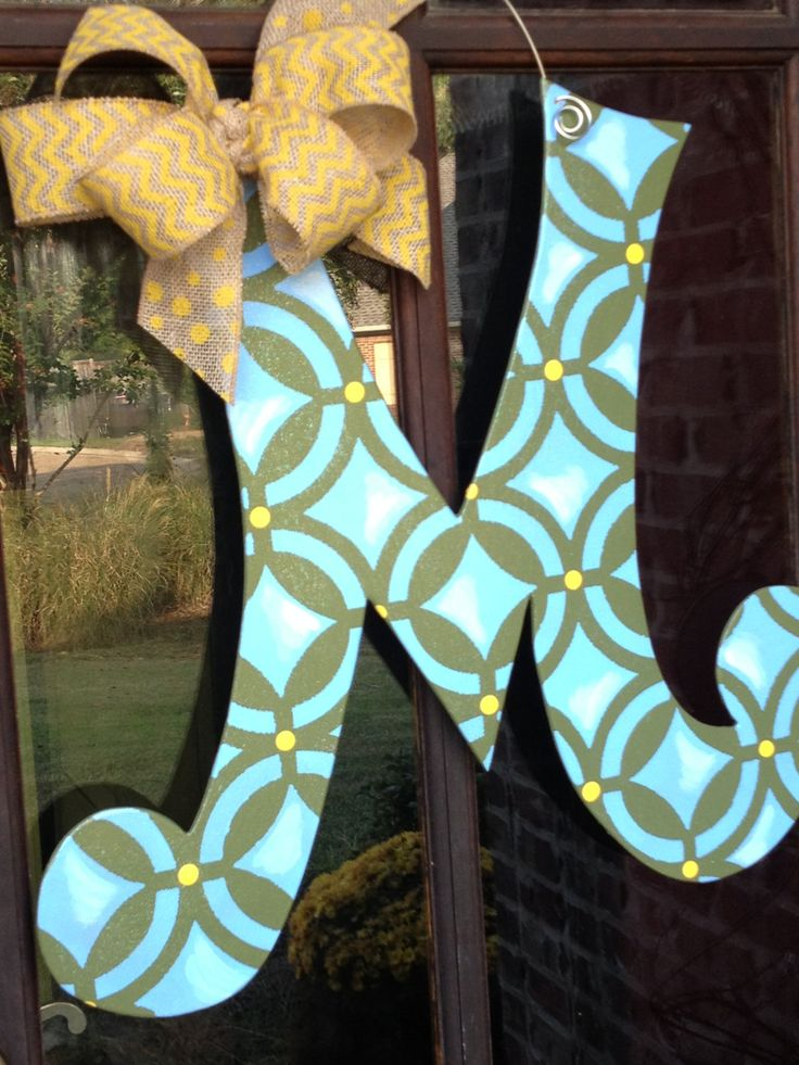 Letter Quot M Quot Wood Door Hanger Initial Door Hanger Letter Door Hangers Painted Wood Letters