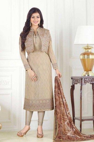 Georgette Churidar Suit With Printed Dupatta In Chiku Colour - DMV15144