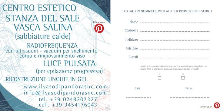 Compila la cartolina e portala in negozio per sconti e promozioni.  http://www.ilvasodipandorasnc.com/img/promo/cartolina/PN.pdf  IL VASO DI PANDORA  Via Pompeo Marchesi 41 - MILANO  www.ilvasodipandorasnc.com info@ilvasodipandorasnc.com  02 48207327 345 4176043  Zona San Siro - Autubus linea 78 - Ampio parcheggio   Stanza del sale - Vasca del sale  Extension ciglia e tutto quello che desideri per la tua bellezza e per il tuo benessere.   Vi aspettiamo.  #stanzadelsale #vascadelsale…