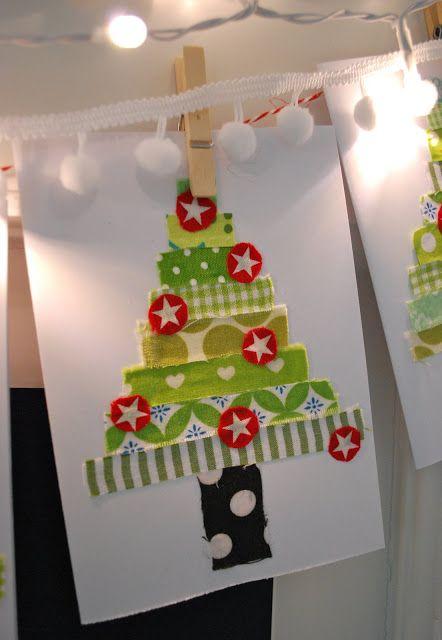 mamaskram.blogspot.de: Weihnachtskarten aus Stoffresten für Weihnachtsbasar