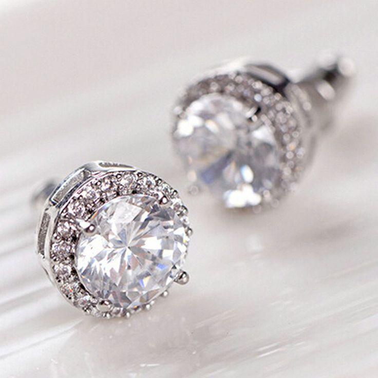 Luxury  Women's Nice Crystal Zircon Inlaid Ear Stud Platinum Plated Earrings For Women Girls
