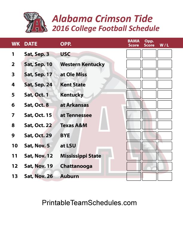 Alabama Crimson Tide Football Schedule 2016. Score Updates & Printable Schedule Here - http://printableteamschedules.com/collegefootball/alabamacrimsontide.php