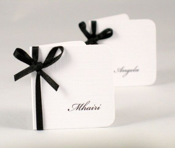 Wedding Escort Card - Formal Place Card - Wedding Place Name Card  - Black and White Cards
