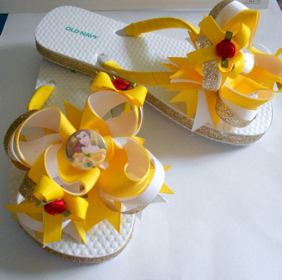 Disney Princess Belle boutique flip flops and matching hair bow on Etsy, $22.00.     I want these!!