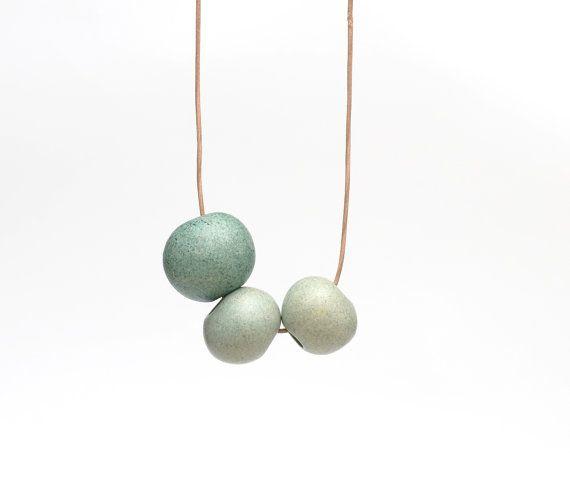 Ceramic Necklace Mint Seafoam Green Matte Minimal by terrafique, $26.00
