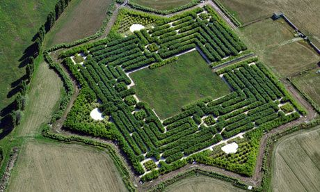 An aerial view of Franco Maria Ricci's maze at Fontanellato near Parma. Photograph: Guardian It covers 17.5 acres and will be a challenge to both walk and navigate. Visitors are advised to bring a compass as well.