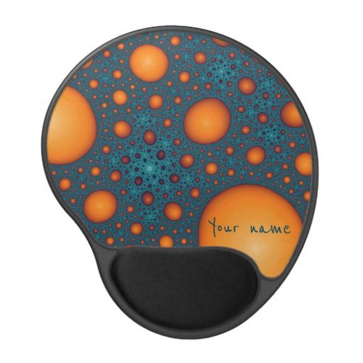 Gel Mouse Pad Vibrant orange bubbles on a cyan background. Unique stylish abstract pattern. Cool fractal art. Modern and trendy. You can add your name or custom text on bubbles. #customized #personalized #POD #graphics #artwork #buy #sale #giftideas #zazzle #discount #deals #gifts #shopping #mostpopular #trendy #cool #best #unique #stylish #gorgeous #funny #orange #cyan #blue #aquamarine #bright #abstract #bubbles #name #text #mousepad #gelmousepad