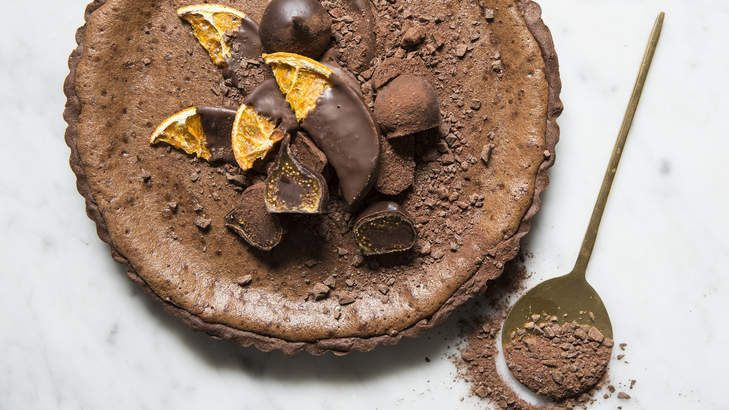 Deep, dark and delicious chocolate-orange tart.