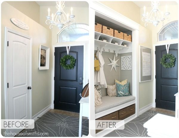 nondescript and cramped closet turned beautiful entryway bench and storage