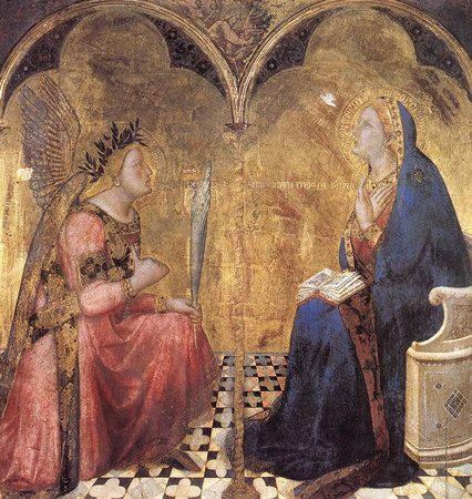 Ambrogio Lorenzetti : L'annonciation, 1344, il s'agit de la 1° perspective monofocale, même si ce n'est que pour le pavement, pour construire sa perspective. Le tableau est un diptyque peint sur un seul panneau, c'est à dire 2 arcs brisés: sous l'un il  y a l'ange Gabriel, sous l'autre, la Vierge. La colonne qui soutient ces 2 arcs et sépare les figures est gravée dans le fond d'or présent dans la partie inférieure qui représente le pavement en perspective.