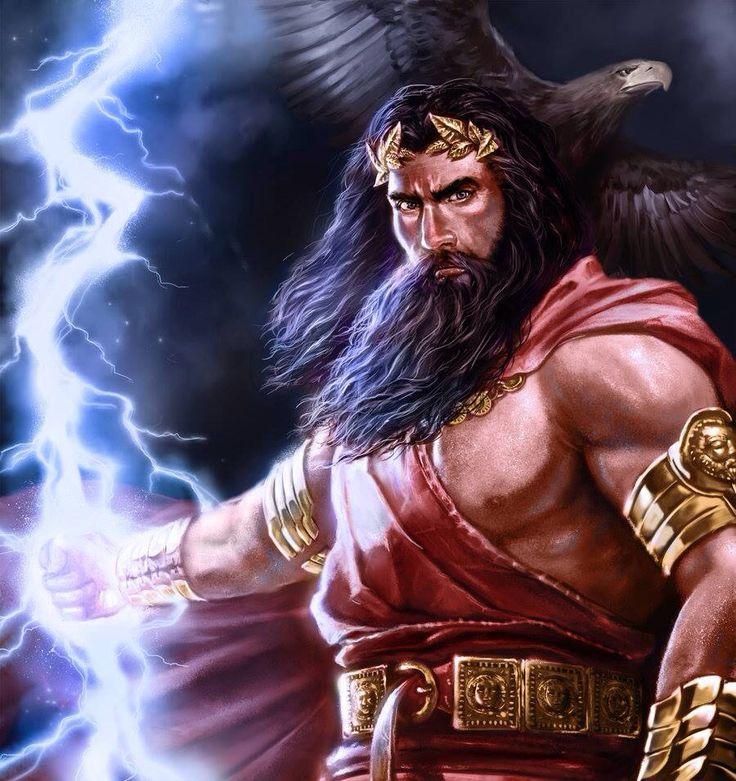 Jupiter , Dieu romain qui gouverne la Terre et le Ciel . Il est aussi le père des Dieux et a pour attributs l'aigle et la foudre , assimilé à Zeus chez les grecs et parfois a Shiva chez les hindous . Il règne sur l'Olympe et d'un signe de tête , ébranle l'univers . Il est le fils de Rhéa et Saturne , qui , dévorait ses enfants au fur et a mesure qu'ils venaient au monde