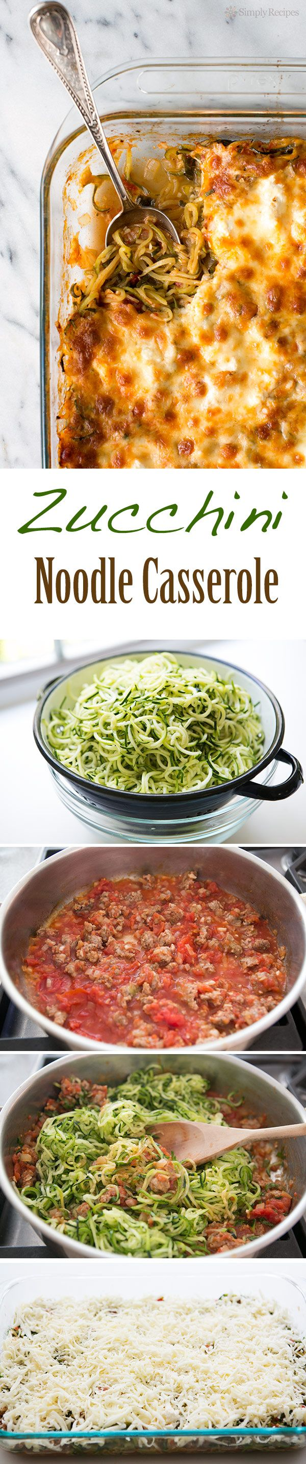 Cheesy Baked Zucchini Noodle Casserole ~ Spiralized zucchini noodles, baked in casserole with sausage tomato sauce, topped with ricotta, mozzarella, parmesan cheeses. Low carb and gluten-free! ~ SimplyRecipes.com