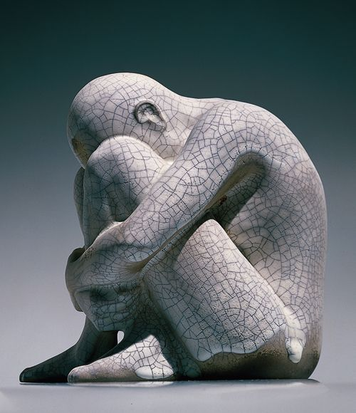 "Sculptures by Glenys Barton ""how I feel this moment"" lonely, discouraged, tired sad,defeated, damaged."