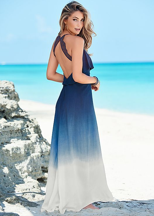 Beautiful blues gradually get lighter making for one striking maxi. Venus ombre maxi dress.