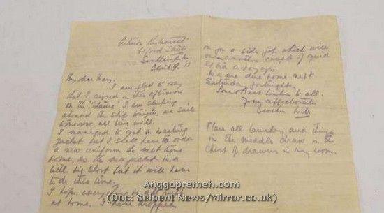 Inilah Surat terakhir Awak Kapal Titanic yang berakhir Memilukan