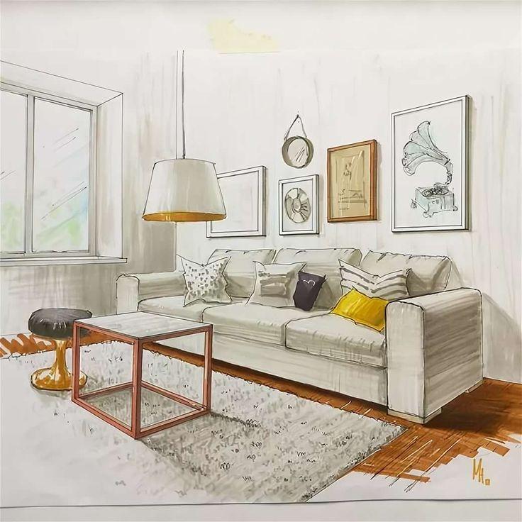Рисунки в гостиной