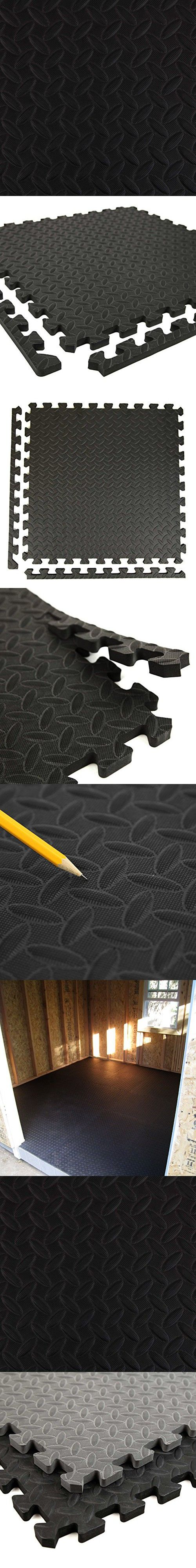 incstores diamond soft extra thick anti fatigue foam tiles 25 pack black