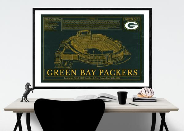 """Go Packers Go! ****************************************** Evoking the nostalgia of midcentury architectural plans, these illustrations lay out the details of some of the game's legendary fields. Each drawing is accompanied with that stadium's design specs and highlights history of the team. The completed print has an aged finish that gives the impression of a vintage document.   MATERIALS - Alder, Semi-hardwood frame - Black in color - .75"""" thick - Acrylite front protector - Lightweight…"""