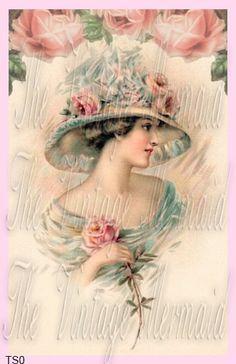 victorian lady on beach with parisol portrait | ... postcard, art, victorian ladies, imag, vintage ladies, printabl, hat