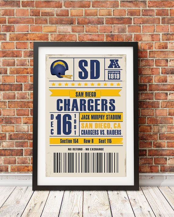 This retro San Diego Chargers ticket print is sold by StudioMaxe on etsy.com. It comes unframed, but Fast Frame Mission Viejo would love to help you with that, and all your other framing needs. Click on the image above to go to the Fast Frame website for more information. Purchase link: https://www.etsy.com/listing/249182708/san-diego-chargers-retro-ticket-print?ga_order=most_relevant&ga_search_type=all&ga_view_type=gallery&ga_search_query=San%20Diego%20Chargers%20Wall%20Art&ref=sr_gallery_3