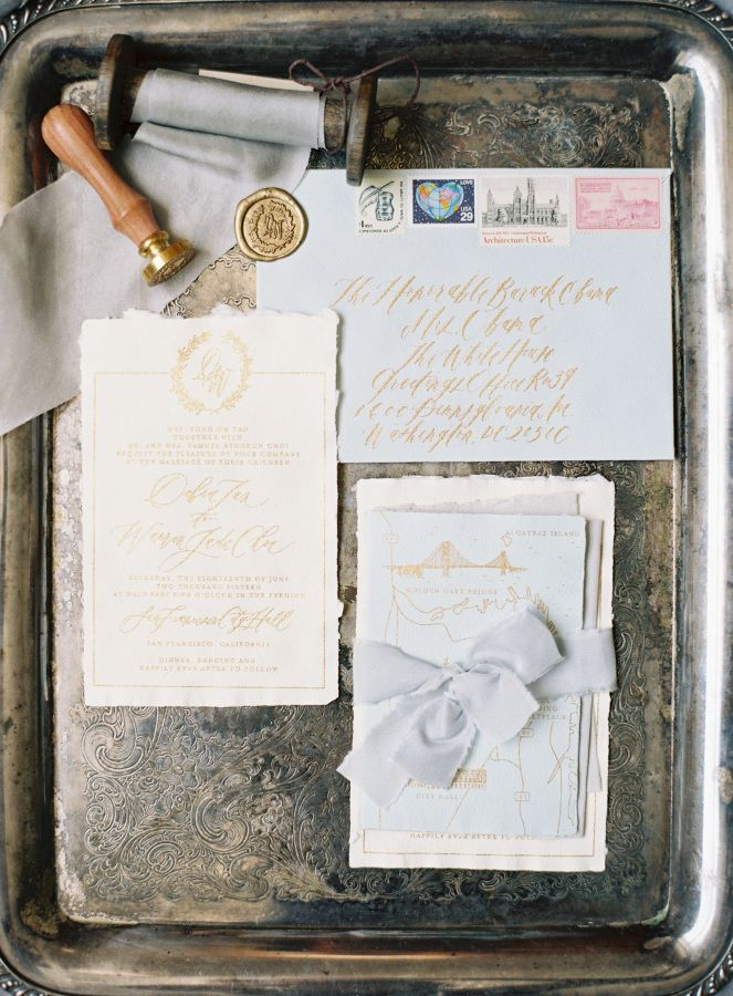 what write on wedding invitation%0A Dusty blue and gold wedding invitations  http   www stylemepretty com