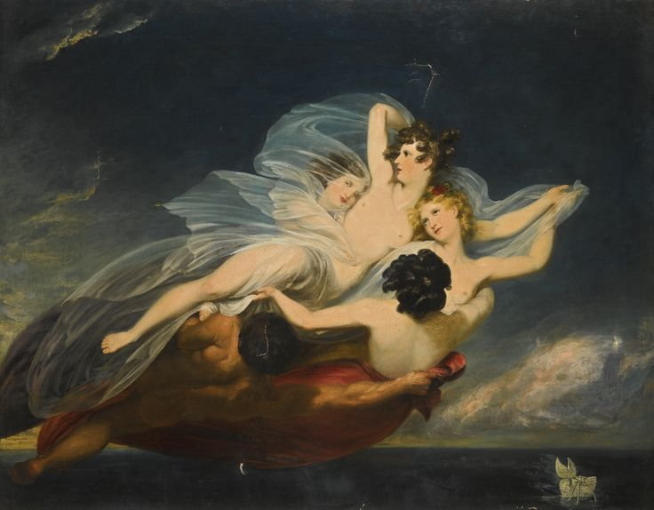 Henry Howard LONDON 1769 - 1847 OXFORD HYLAS CARRIED OFF BY NYMPHS oil on canvas, unframed 112.4 by 143.5 cm.; 44 1/4  by 56 1/2  in.: