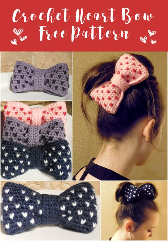 Free pattern for a crochet hair bow with hearts all over.
