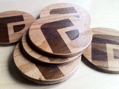 Our new custom wood coasters with our mark laser etched into the wood, made by the great folks over at TinkeringMonkey.com. You can read about our entire branding process here > http://focuslabl...