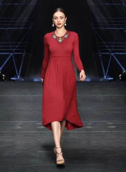 Label Ritu Kumar Red Embroidered Asymmetric Dress #Red#Rayon#Longsleeve#Party