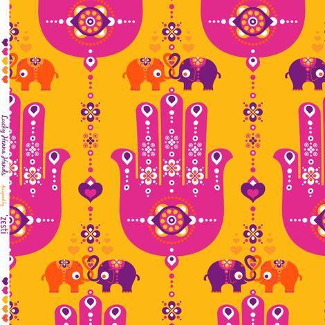 Lucky Henna Hands fabric by zesti on Spoonflower - custom fabric