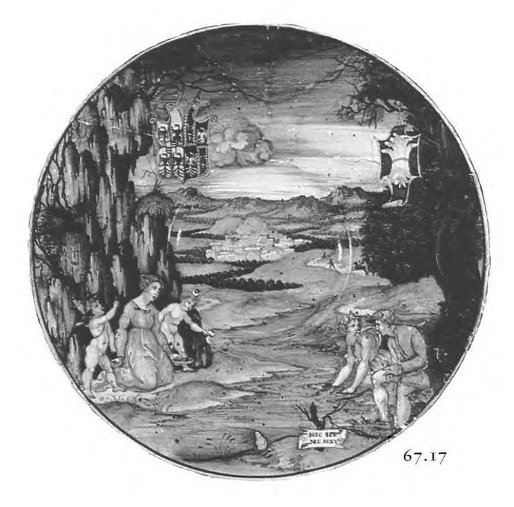 Nicola di Grabriele Sbraghe da Urbano (ca. 1480-1537/38) Service of Isabella d'Este (1474-1539), Plate with the legend of Latona and Lycian peasants Italy, Urbino, ca. 1524-1525, Majolica a istoriato, painted in polychrome, D. 27 cm Verona, Museo Miniscalchi Erizzo,