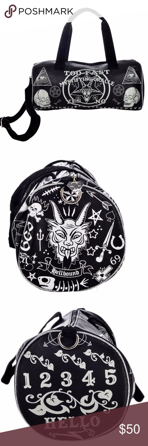 """Too Fast Ouija Large Duffel Bag Spirit Board Devil OUIJA: Description:  If y'all wanna put severed heads in these duffle bags, we're not gonna stop you - it's your right.  We simply ask you perform a sacrifice to the sun god in our honor first please. Overview:  Matte faux leather duffle bag with suede straps and piping Ouija art on front and back. Aprox. 17"""" Long   10"""" Tall   7 1/2"""" Wide Shipping weight 2lbs Content & Care:  Man-made materials. Wipe clean with damp cloth. Artist:  Clare…"""