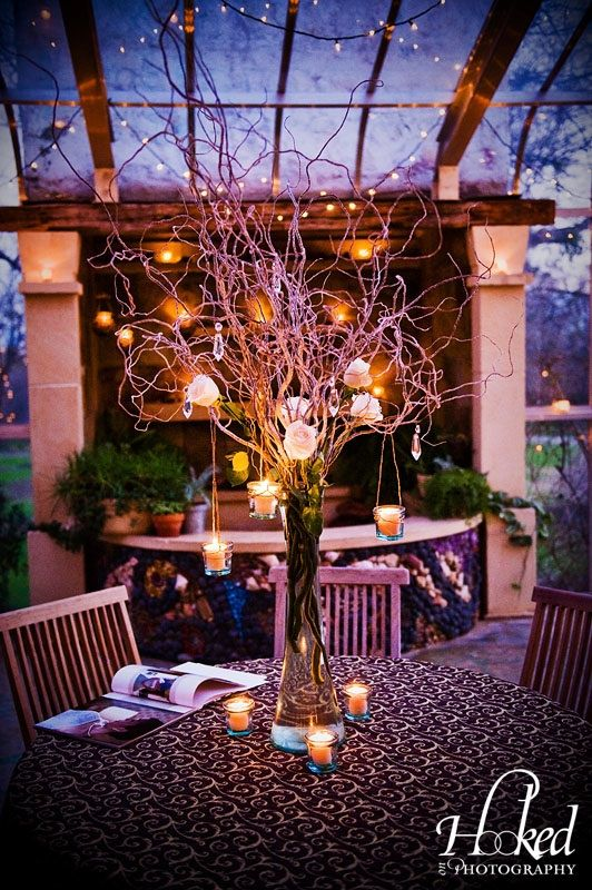 131 best tall centerpieces images on pinterest flower for Tall wedding centerpieces with branches