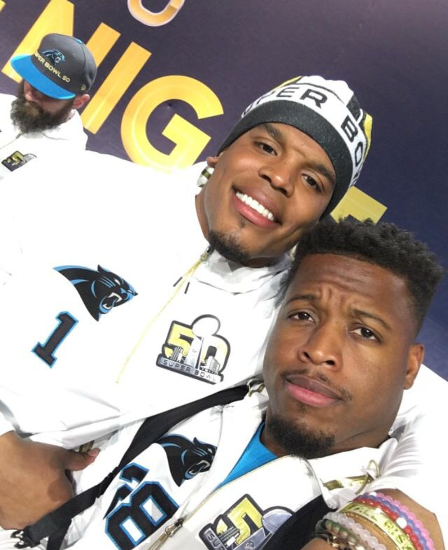 Panthers bromance!!! Cam and J Stew