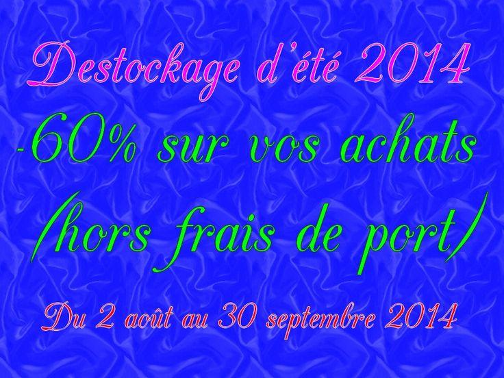 déstockage d'été 2014 -60% sur votre panier (hors frais de port) du 2 août au 30 septembre 2014. Jusqu'à épuisement des stock www.boutique.promo-mariage-decor.com