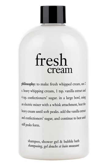 Free shipping and returns on philosophy 'fresh cream' shampoo, shower gel & bubble bath at Nordstrom.com. Indulge in the sweet scent of fresh cream shampoo, shower gel and bubble bath by philosophy. The moisturizing formula provides you with a rich, foaming lather that cleanses and conditions, leaving your skin and hair feeling soft and luxurious.<br><br>How to use: Apply to wet scalp or body. Lather, rinse, repeat. If using as a bubble bath, drizzle a generous amount under running water and…