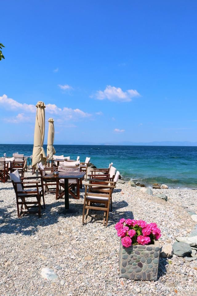 Tables by the sea; photo from Tyros, Arcadia Region