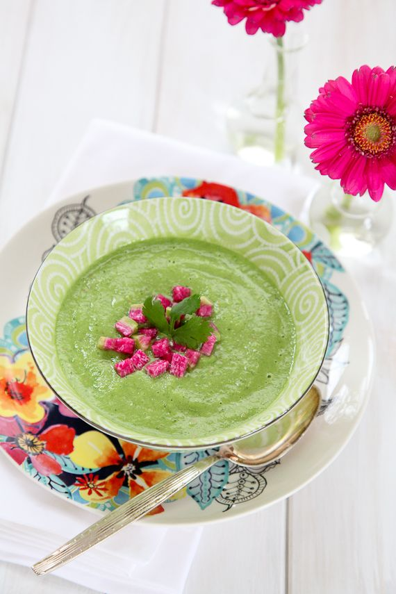 raw green veggie soup w/ cilntro & avocado