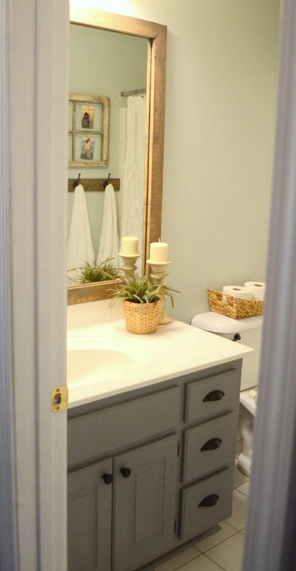 stained wood framed bathroom mirror mirror and frame ideas for diy rh pinterest com