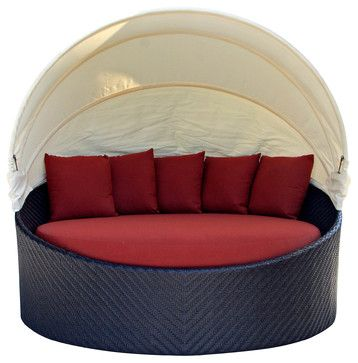 Wink Modern Outdoor Canopy Daybed, Henna Cushion contemporary outdoor chaise lounges