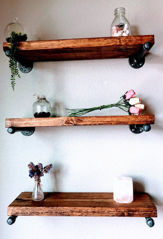 floating shelves barn wood wood shelf industrial shelf reclaimed rh pinterest com