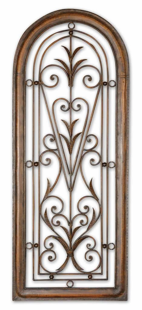 Wrought Iron Wall Decor With Wood Frame : Arched wood iron wall plaque tuscan arch wrought
