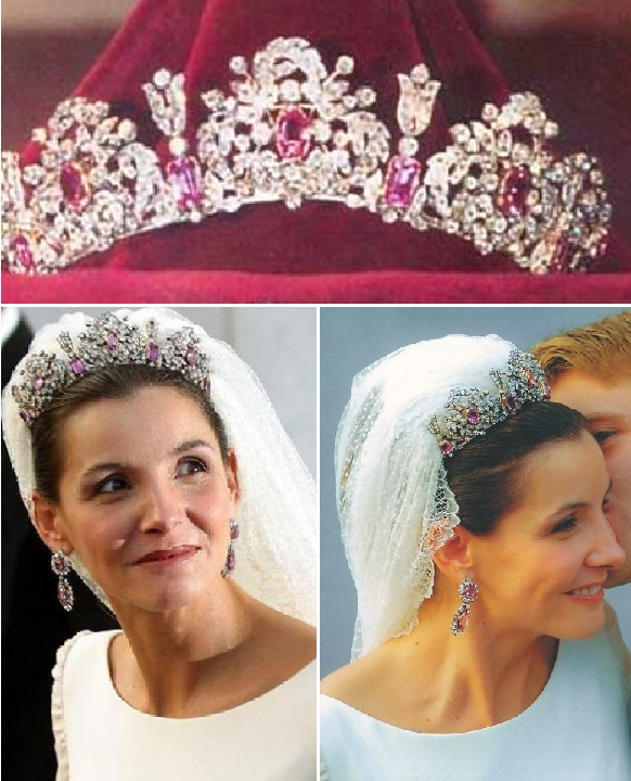 Savoy Pink Topaz Parure tiara and earrings in 2003 when Clotilde Courau and Prince Emanuele Filiberto of Savoy were married.