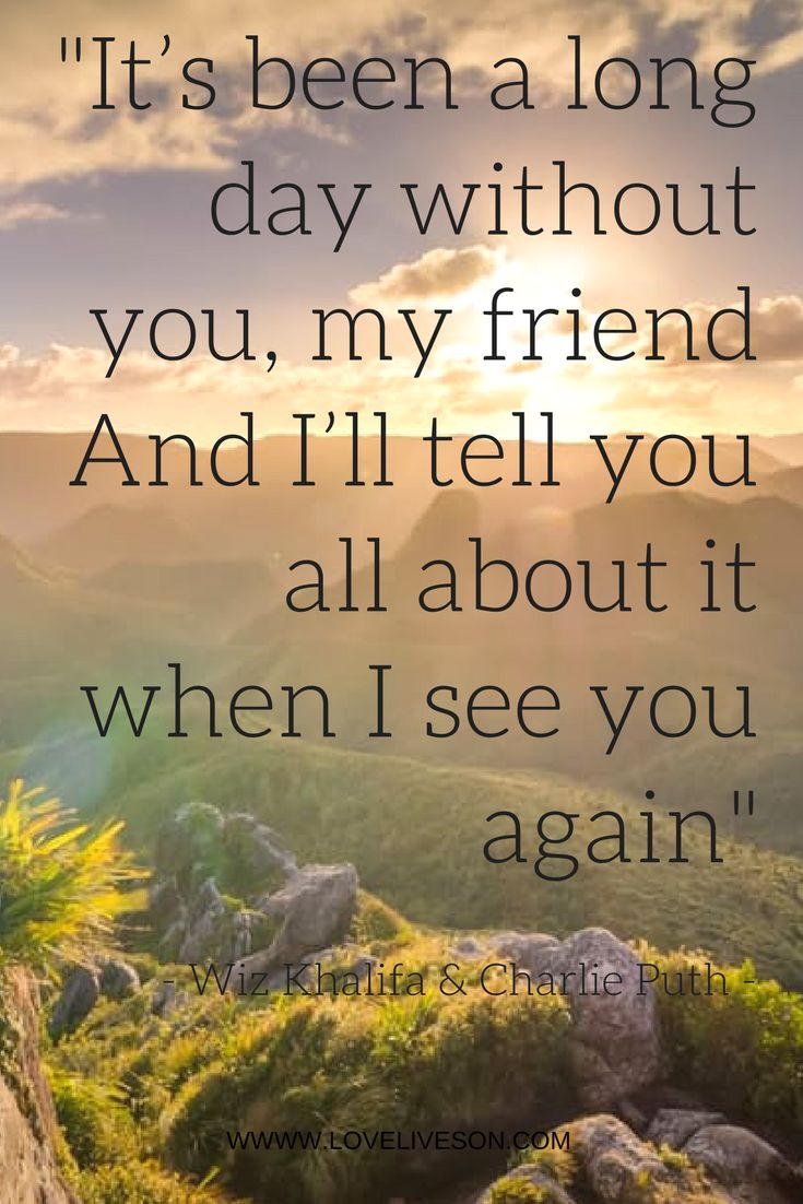 "From the gorgeous funeral song ""See You Again"" by Wiz Khalifa ft. Charlie Puth in memory of Paul Walker"